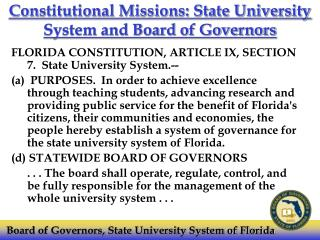 Constitutional Missions: State University System and Board of Governors