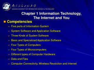 Competencies Five parts of Information System System Software and Application Software