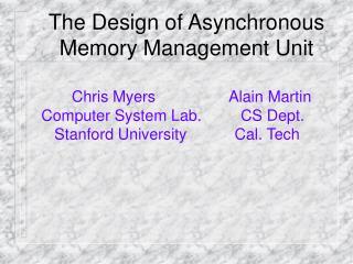 The Design of Asynchronous Memory Management Unit