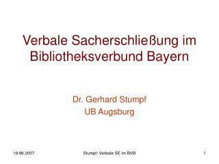 Verbale Sacherschließung im Bibliotheksverbund Bayern