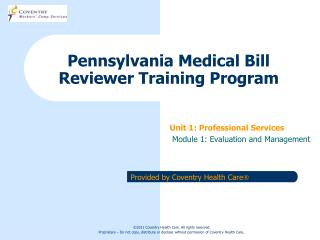 Pennsylvania Medical Bill Reviewer Training Program