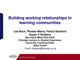 Building working relationships in learning communities