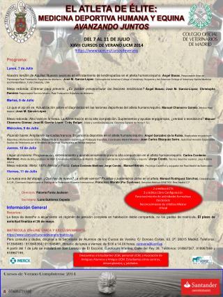 EL ATLETA DE ÉLITE: MEDICINA DEPORTIVA HUMANA Y EQUINA AVANZANDO JUNTOS