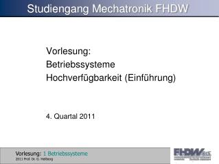 Studiengang Mechatronik FHDW