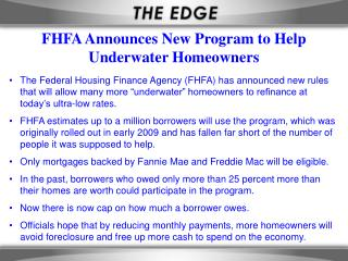 FHFA Announces New Program to Help Underwater Homeowners