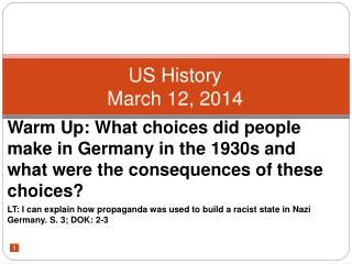 US History March 12, 2014
