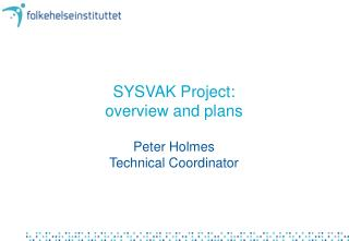 SYSVAK Project:  overview and plans
