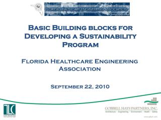 Basic Building blocks for  Developing a Sustainability Program