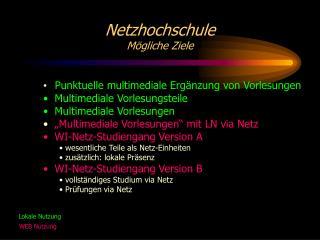 Netzhochschule M�gliche Ziele
