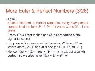 More Euler & Perfect Numbers (3/28)
