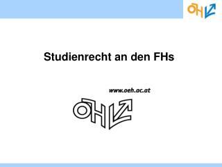 Studienrecht an den FHs