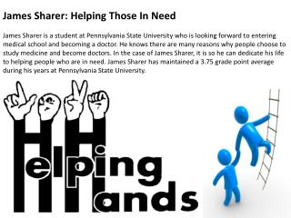 James Sharer- Helping Those In Need