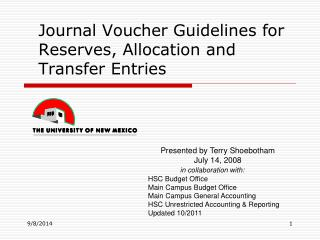 Journal Voucher Guidelines for Reserves, Allocation and Transfer Entries