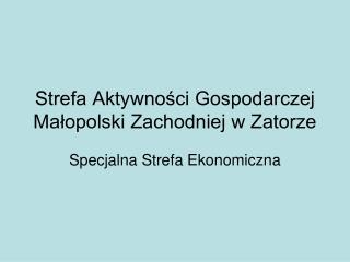 Strefa Aktywności Gospodarczej Małopolski Zachodniej w Zatorze