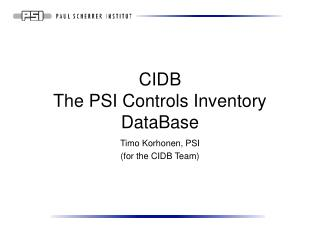 CIDB The PSI Controls Inventory DataBase