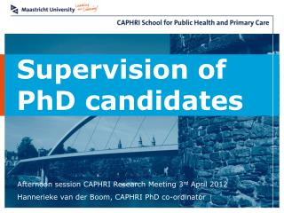 Supervision of PhD candidates