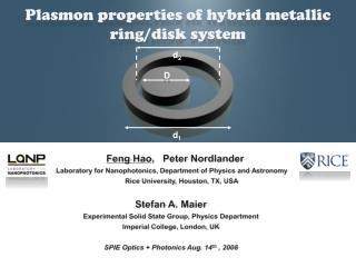 Plasmon  properties of hybrid metallic ring/disk  system