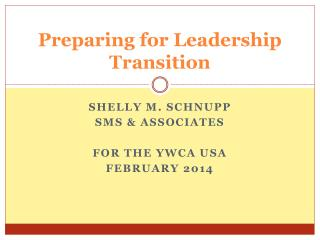 Preparing for Leadership Transition