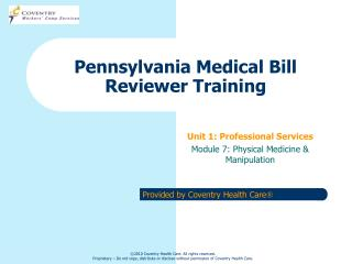 Pennsylvania Medical Bill Reviewer Training
