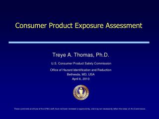 Consumer Product Exposure Assessment