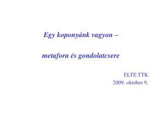 Egy koponyánk vagyon –  metafora és gondolatcsere ELTE TTK 2009. október 9.
