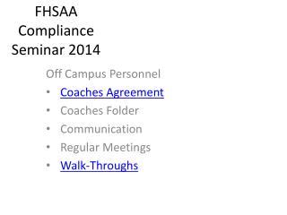 FHSAA Compliance Seminar 2014
