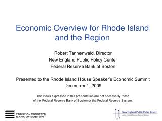 Economic Overview for Rhode Island and the Region