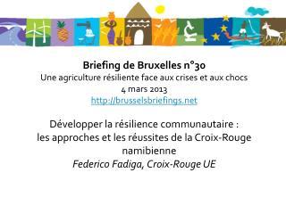 Briefing de Bruxelles n°30 Une agriculture résiliente face aux crises et aux chocs 4 mars 2013