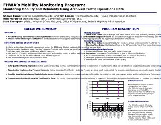 FHWA's Mobility Monitoring Program: