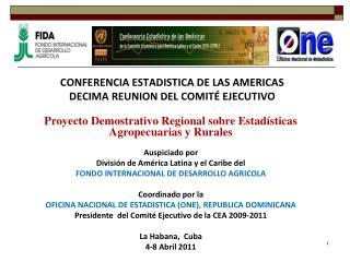 CONFERENCIA ESTADISTICA DE LAS AMERICAS DECIMA REUNION DEL COMIT� EJECUTIVO