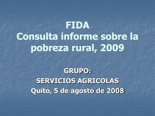 FIDA Consulta informe sobre la pobreza rural, 2009