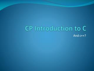 CP Introduction to C