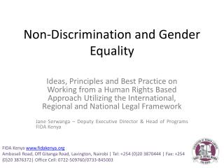 Non-Discrimination and Gender Equality