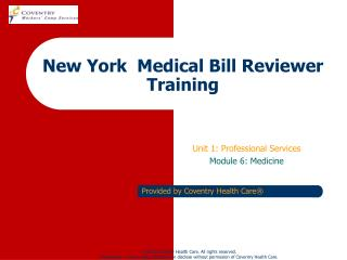 New York  Medical Bill Reviewer Training