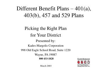 Different Benefit Plans – 401(a), 403(b), 457 and 529 Plans