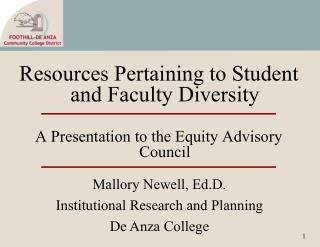 Resources Pertaining to Student and Faculty Diversity