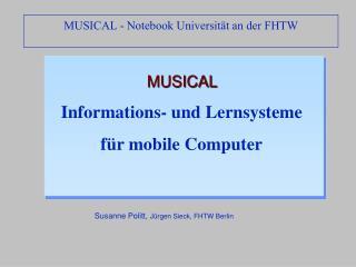 MUSICAL  Informations- und Lernsysteme  für mobile Computer