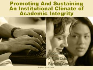 Promoting And Sustaining An Institutional Climate of Academic Integrity