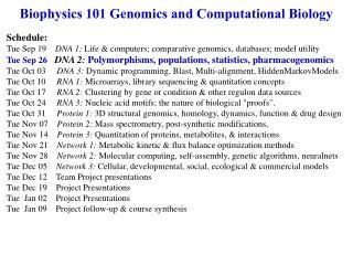 Biophysics 101 Genomics and Computational Biology