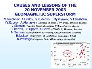 CAUSES AND LESSONS OF THE 20 NOVEMBER 2003 GEOMAGNETIC SUPERSTORM
