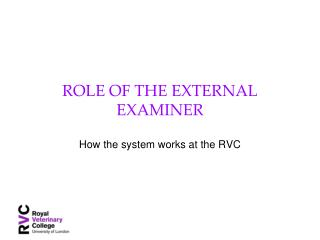 ROLE OF THE EXTERNAL EXAMINER
