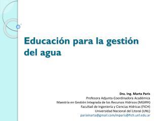 Educación para la gestión del agua