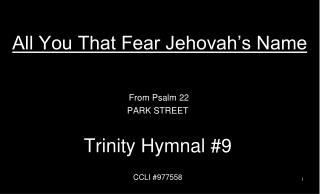 All You That Fear Jehovah's Name
