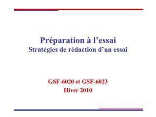 Préparation à l'essai Stratégies de rédaction d'un essai