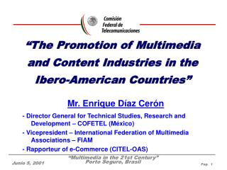 """The Promotion of Multimedia and Content Industries in the Ibero-American Countries"""