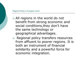 Regional Policy in European Union