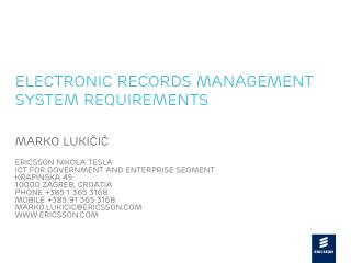 Electronic Records Management System Requirements