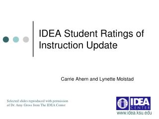 IDEA Student Ratings of Instruction Update