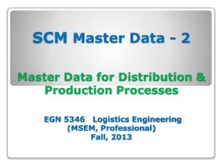 SCM Master Data - 2 Theories & Concepts