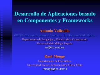 Desarrollo de Aplicaciones basado en Componentes y Frameworks